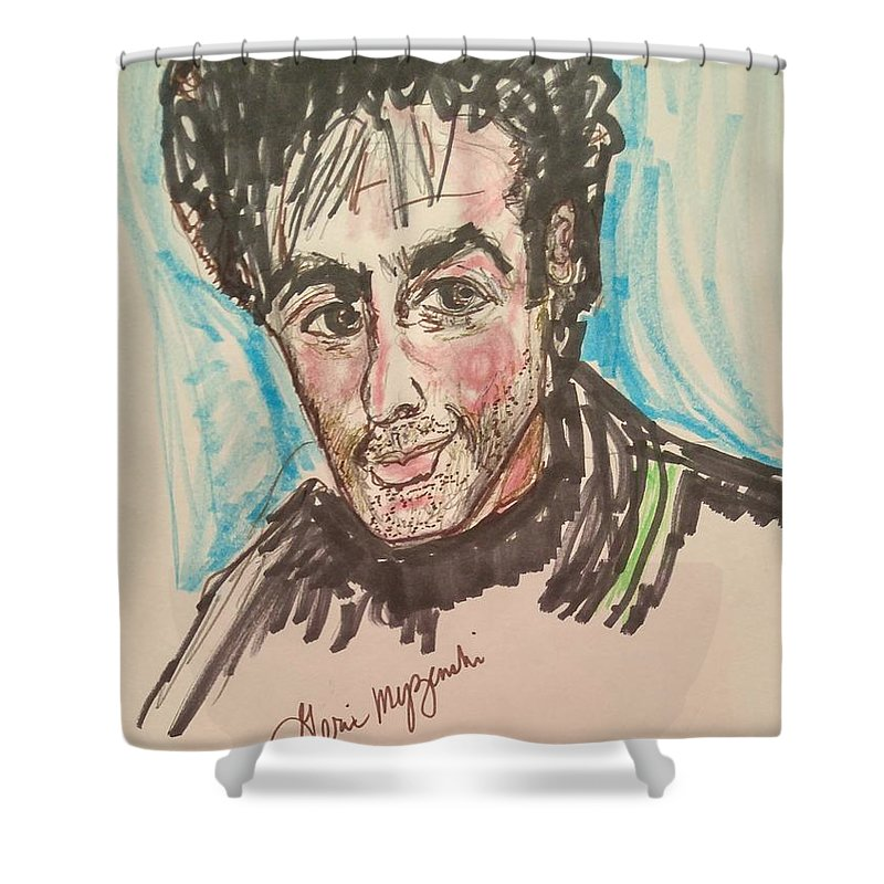Magician Shower Curtain featuring the painting     David Copperfield by Geraldine Myszenski