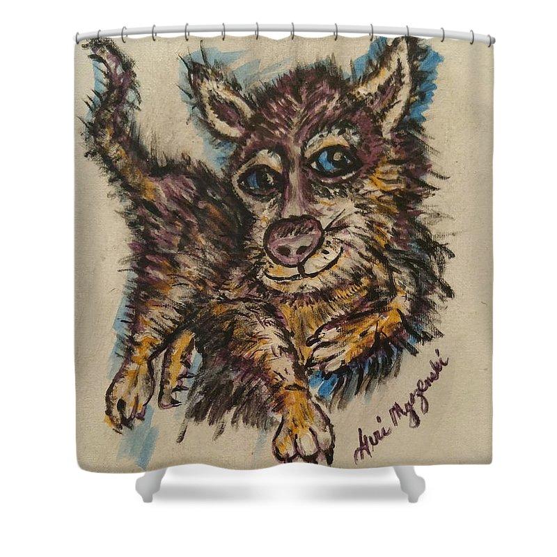 Husky Shower Curtain featuring the painting   Blue Eyed Husky by Geraldine Myszenski
