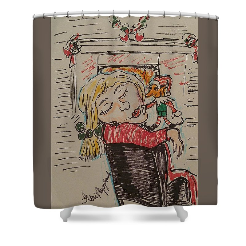 Elf Shower Curtain Featuring The Painting On Shelf By Geraldine Myszenski