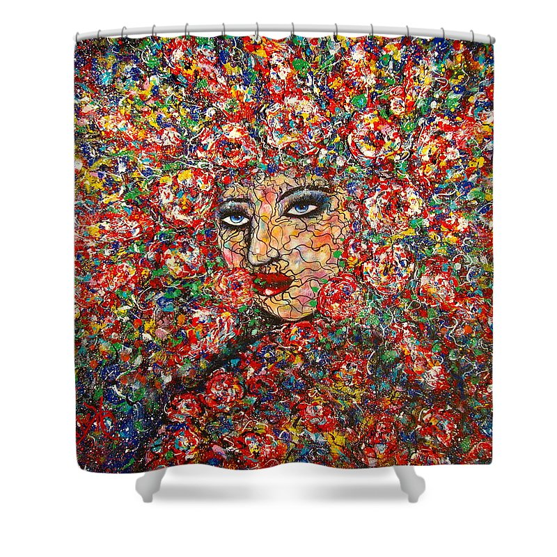 Woman Shower Curtain featuring the painting  Gentle Beautiful Flower by Natalie Holland