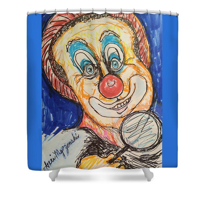 Clown Shower Curtain featuring the painting     Happy Clown by Geraldine Myszenski