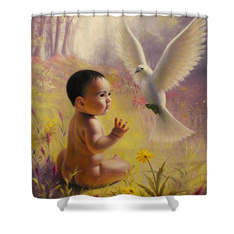Baby Shower Curtain featuring the painting  Peace  Weaver by Stephen Lucas