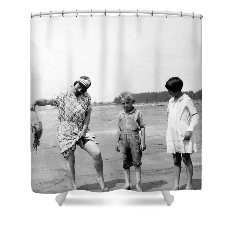 1920s Shower Curtain Featuring The Photograph Animal Archive Beach Black White Boy Kids By Mark
