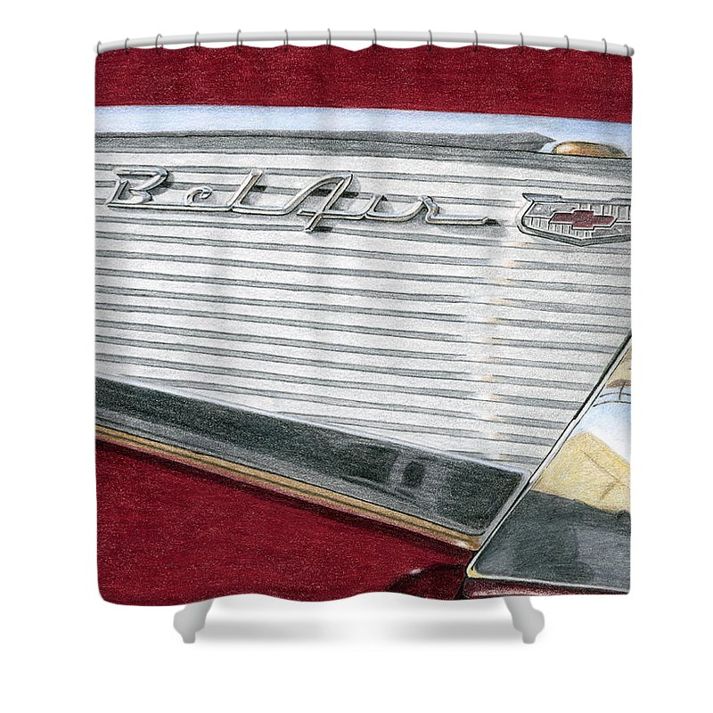 Classic Shower Curtain featuring the drawing 1957 Chevrolet Bel Air Convertible by Rob De Vries