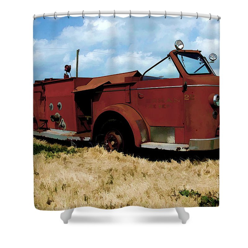 American La France Shower Curtain featuring the digital art A Forgotten Hero by Tommy Anderson