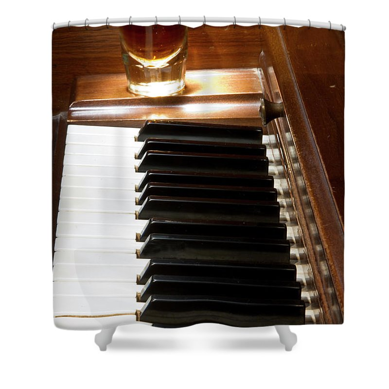Piano Shower Curtain featuring the photograph A Shot Of Bourbon Whiskey And The Black And White Piano Ivory K by James BO Insogna