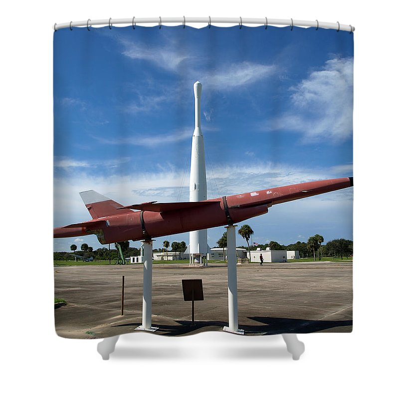 Thor; Able; Thor-able; Missle; U.s.; Airforce; Air Force; Air; Force; Cape; Canaveral; Nasa; Rocket; Shower Curtain featuring the photograph Air Force Museum At Cape Canaveral by Allan Hughes