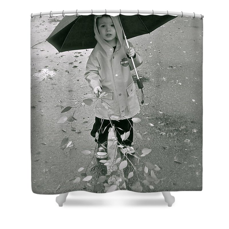 Rain Shower Curtain featuring the photograph ... Another Rainy Day by Gwyn Newcombe