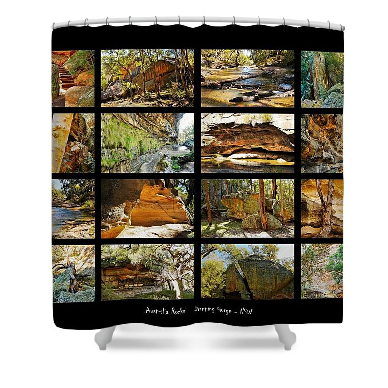 ' Australia Rocks ' Series By Lexa Harpell Shower Curtain featuring the photograph ' Australia Rocks ' - The Dripping Gorge - New South Wales by Lexa Harpell