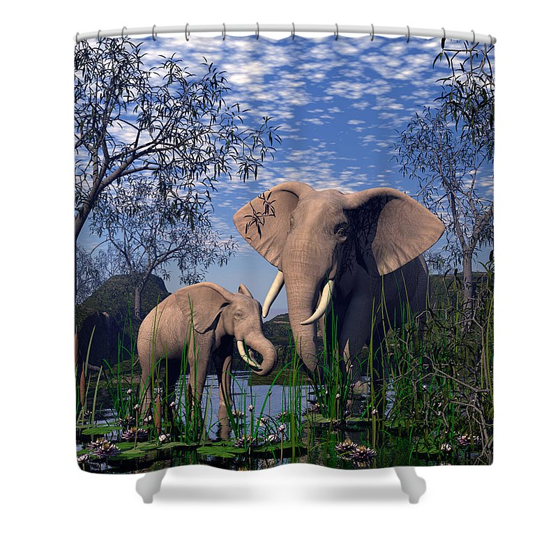 Elepant Shower Curtain featuring the digital art Baby Elepant An Mother At A Pond by John Junek