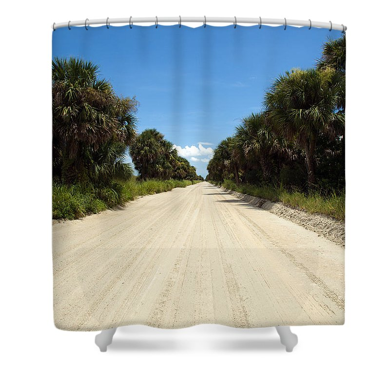 Florida; Road; Back; Backroad; Central; Dirt; Plow; Plowed; Clay; Mud; Muddy; Places; Unknown; Trave Shower Curtain featuring the photograph Back Road In Central Florida. by Allan Hughes