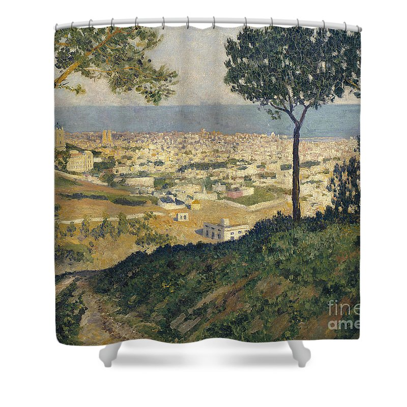 Dar�o De Regoyos Shower Curtain featuring the painting Barcelona Seen From Vallvidrera by Celestial Images