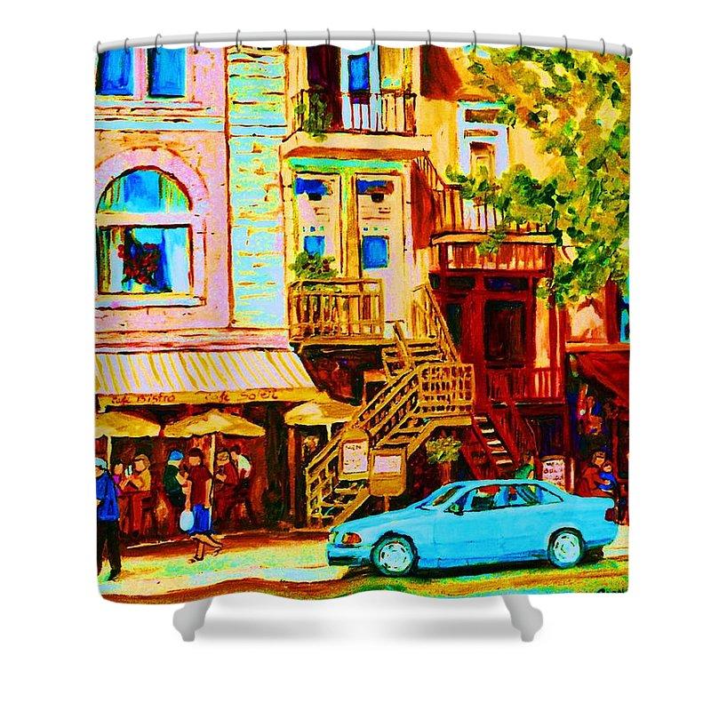 Cafe Art Shower Curtain featuring the painting Beautiful Cafe Soleil by Carole Spandau