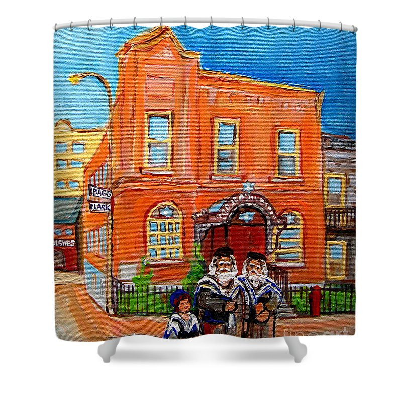 Beautiful Synagogue On Bagg Street Shower Curtain featuring the painting Beautiful Synagogue On Bagg Street by Carole Spandau