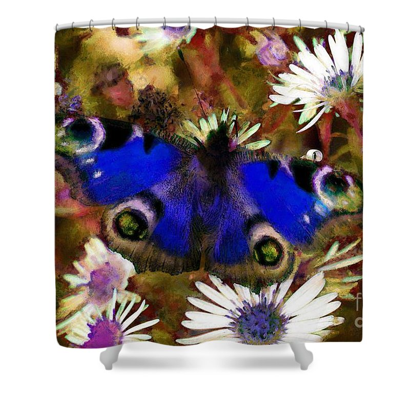 Blue Butterfly Shower Curtain featuring the drawing Blue Butterfly by Sergey Lukashin