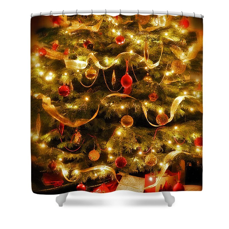 Victorian Christmas Tree Xmas Baubles Gifts Presents Decorations Ribbon Pine Needles Fairy Lights Shower Curtain featuring the photograph Christmas Tree by Mal Bray