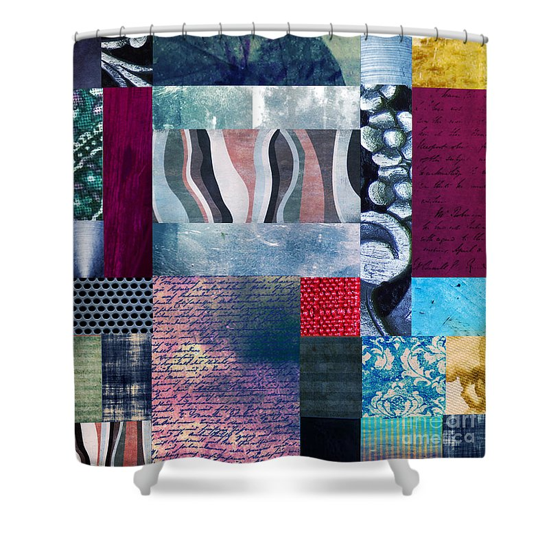 Abstract Background Concept Cool Element Modern Shape Art Artistic Brushed Colorful Contemporary Creative Graphic Modern Original Painted Painting Watercolor Effects Texture Text Letter Flower Design Contour Decoration Composition Abstraite Shower Curtain featuring the painting Composition Abstraite by Ramneek Narang