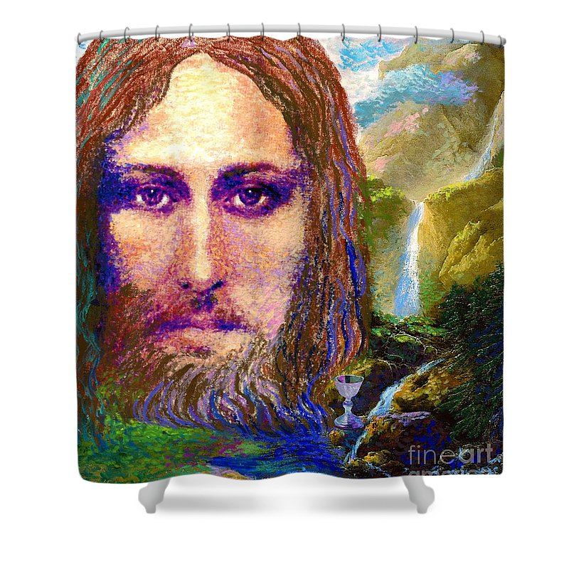 Love Shower Curtain featuring the painting Contemporary Jesus Painting, Chalice Of Life by Jane Small