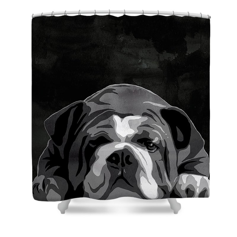 Bulldog Shower Curtain Featuring The Painting English Animal Black And White Decorative Wall Poster 3