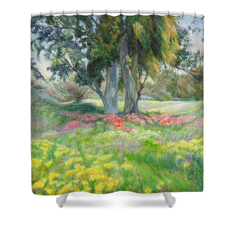 Artist Maya Bukhin Shower Curtain featuring the painting Eucalyptus by Maya Bukhina