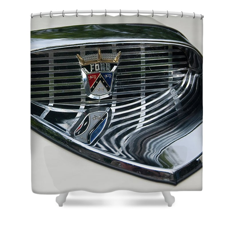 Antique Car Shower Curtain featuring the photograph Ford Chrome 13124 by Guy Whiteley