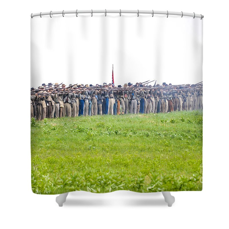 150th Shower Curtain featuring the photograph Gettysburg Confederate Infantry 0157c by Cynthia Staley