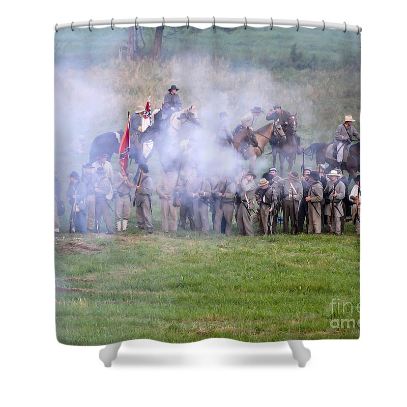 150th Shower Curtain featuring the photograph Gettysburg Confederate Infantry 7503c by Cynthia Staley