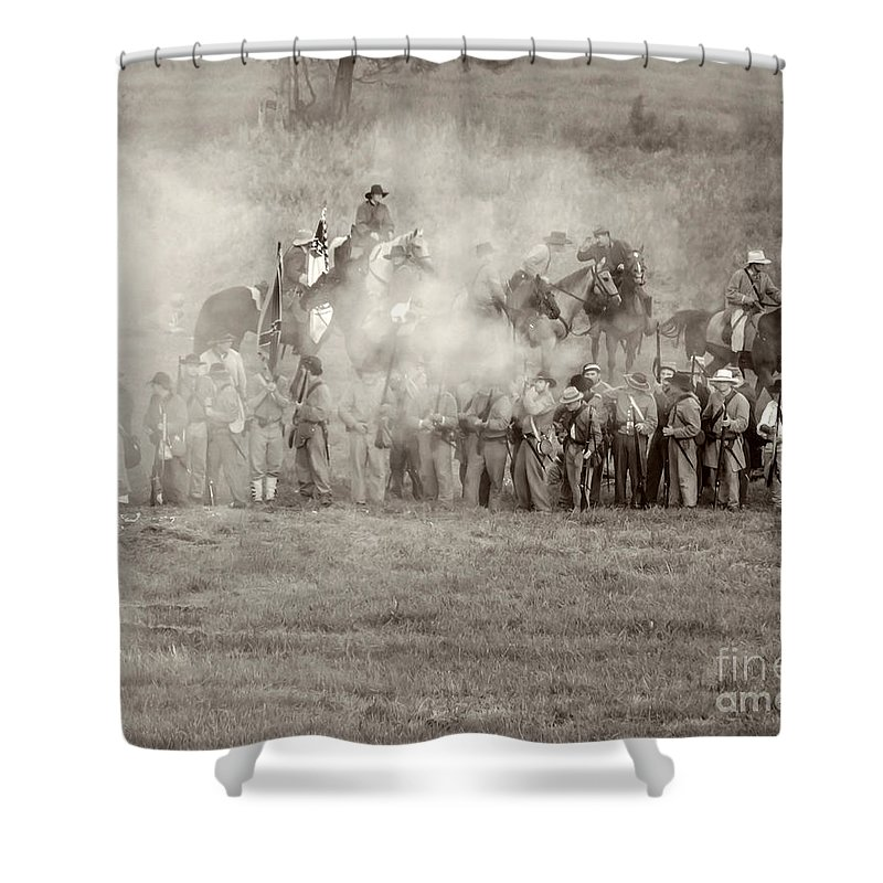 150th Shower Curtain featuring the photograph Gettysburg Confederate Infantry 7503s by Cynthia Staley