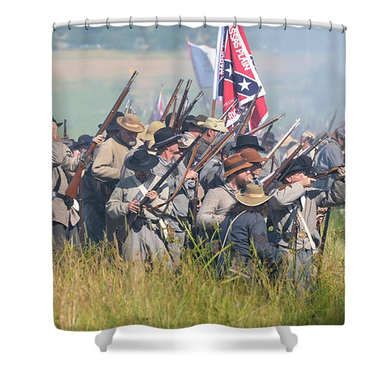 150th Shower Curtain featuring the photograph Gettysburg Confederate Infantry 9214c by Cynthia Staley