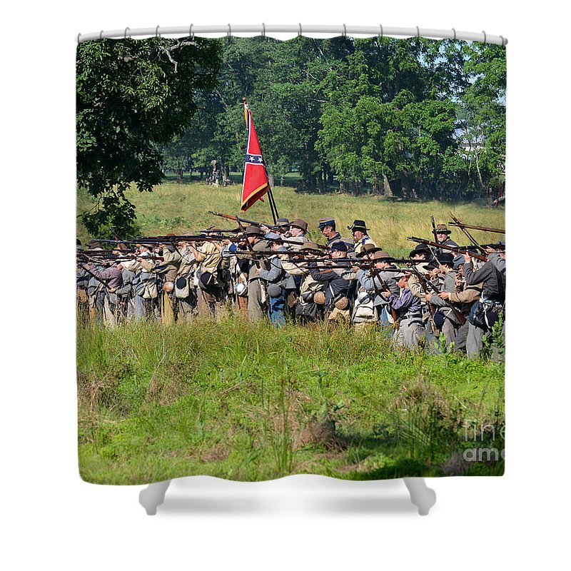 150th Shower Curtain featuring the photograph Gettysburg Confederate Infantry 9270c by Cynthia Staley
