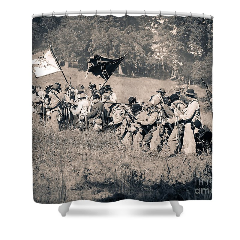 150th Shower Curtain featuring the photograph Gettysburg Confederate Infantry 9281s by Cynthia Staley
