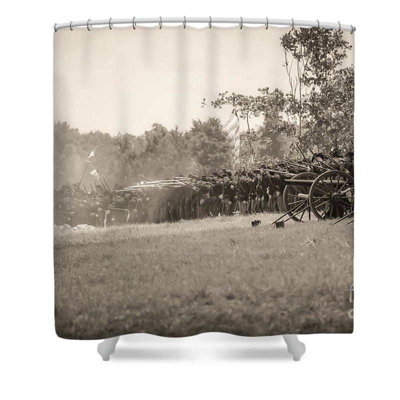 150th Shower Curtain featuring the photograph Gettysburg Union Infantry 9968s by Cynthia Staley