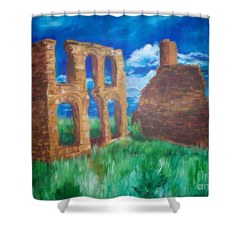 Western_landscapes Shower Curtain featuring the painting Ghost Town by Eric Schiabor