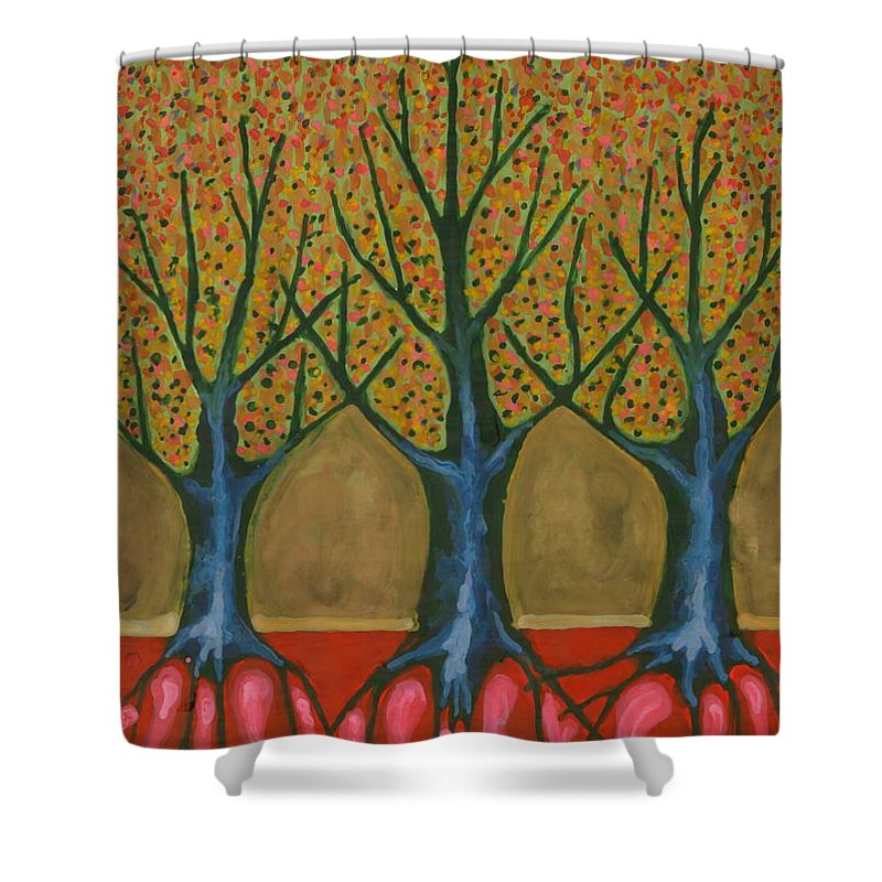 Colour Shower Curtain featuring the painting I Be Please With Life by Wojtek Kowalski