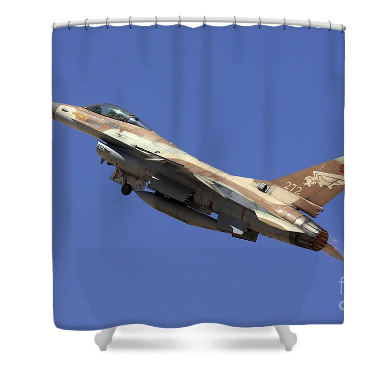 Aircraft Shower Curtain featuring the photograph Iaf F-16a Fighter Jet On Blue Sky by Nir Ben-Yosef
