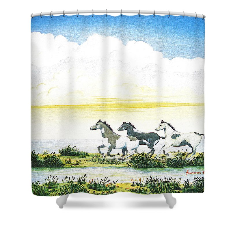 Chincoteague Shower Curtain featuring the painting Indian Ponies by Jerome Stumphauzer