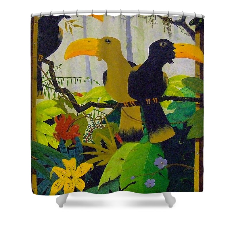 Jungle Shower Curtain featuring the painting Jungle Boogie by Patrick Trotter