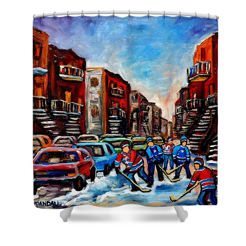 Montreal Shower Curtain featuring the painting Late Afternoon Street Hockey by Carole Spandau