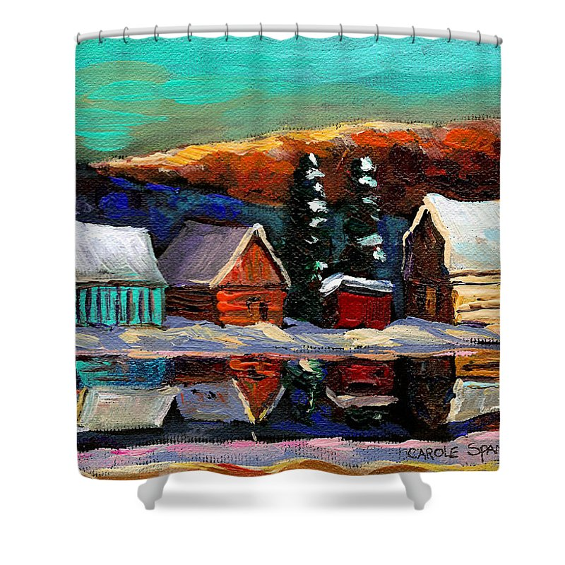 Quebec Winter Landscape Shower Curtain featuring the painting Laurentian Landscape Quebec Winter Scene by Carole Spandau