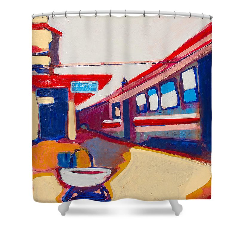 Train Station Shower Curtain featuring the painting Locale by Kurt Hausmann