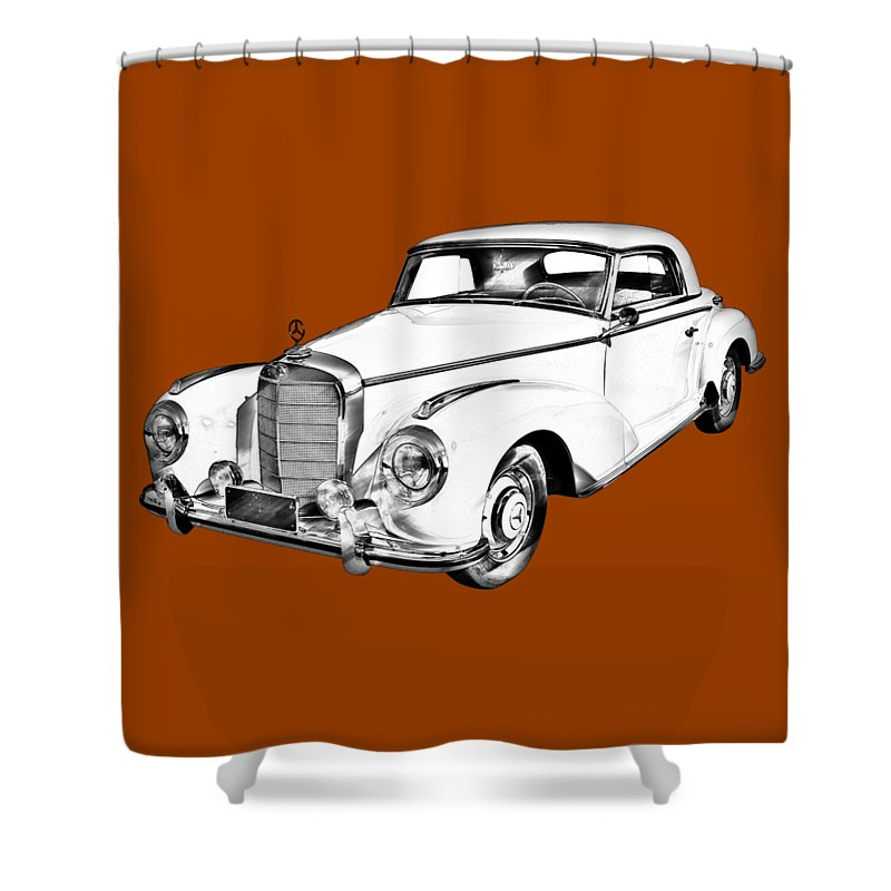Mercedes Benz 300 Luxury Car Drawing Shower Curtain For Sale By