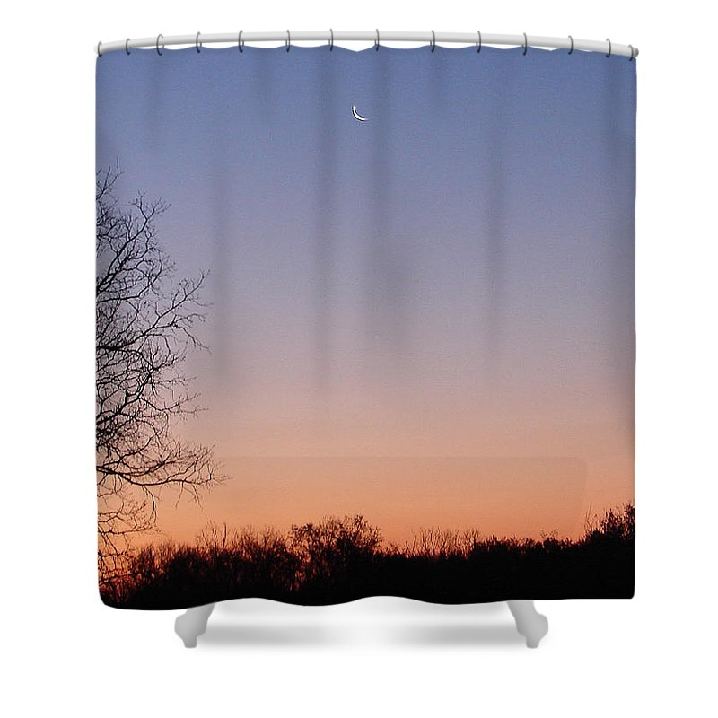 Moon Sky Orange Blue Shower Curtain featuring the photograph Morning Moon by Luciana Seymour