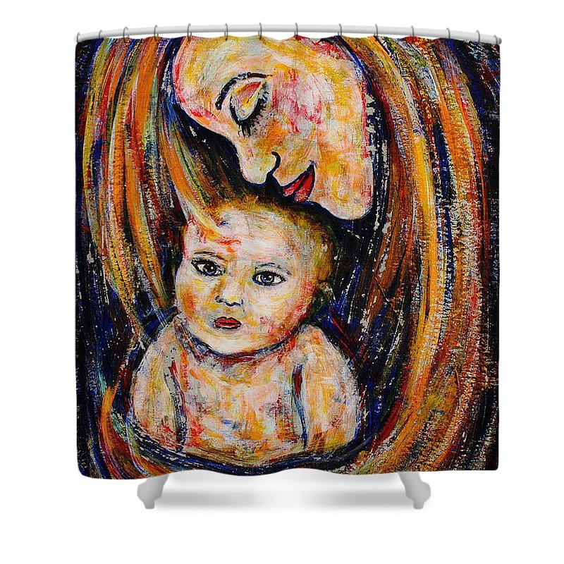 Expressionism Shower Curtain featuring the painting Mother's Love by Natalie Holland
