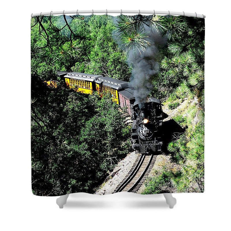 Train Shower Curtain featuring the photograph Nostalgic Moments by Carol Milisen