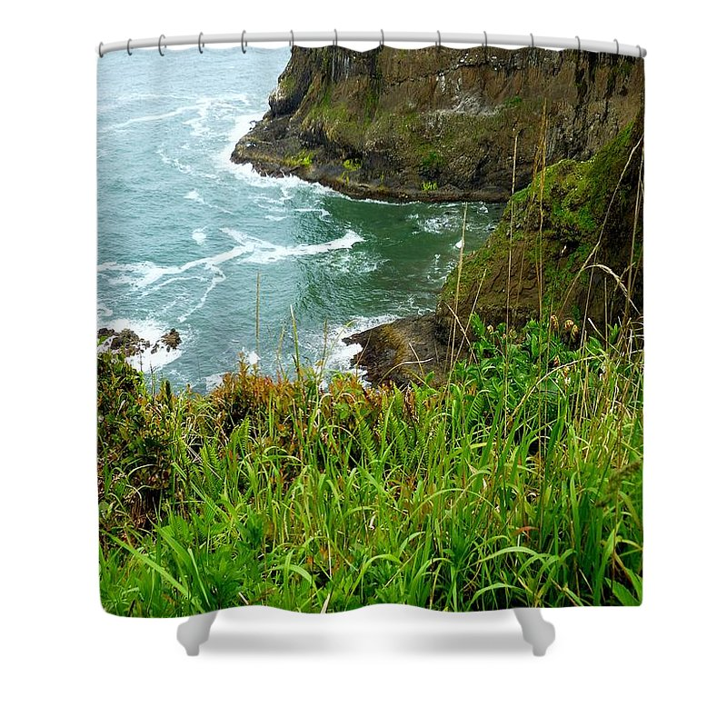 Sea Stacks Shower Curtain featuring the photograph Oregon's Seaside Cliffs In Springtime by Elaine Bawden