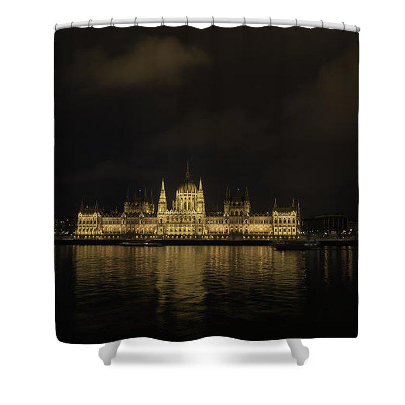 תרגם Shower Curtain featuring the photograph Parliament Budapest by Shay Weiss
