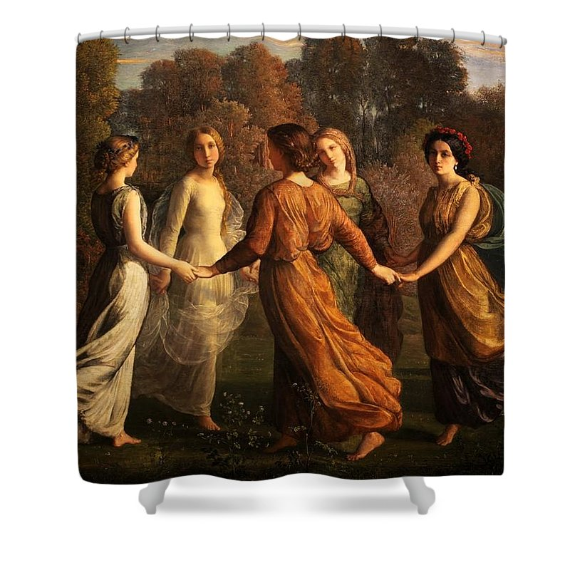 Louis Janmot - Poem Of The Soul 13 - Rays Of The Sun Shower Curtain featuring the painting Poem Of The Soul by MotionAge Designs