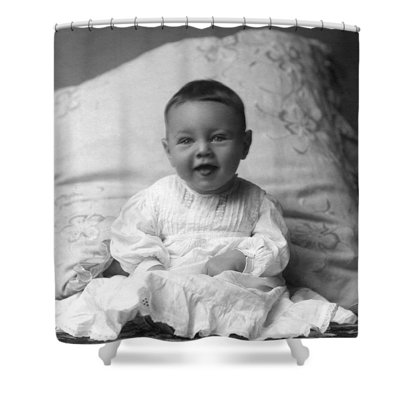 Portrait shower curtain featuring the photograph portrait headshot happy baby 1900s black white by mark goebel