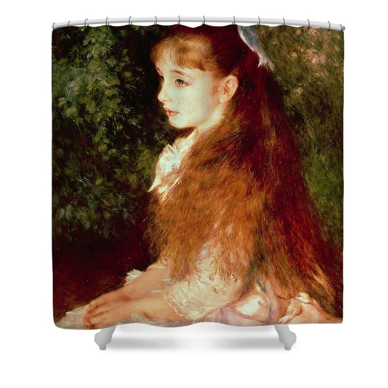 Impressionist; Girl; Young; Sister; Anvers Shower Curtain featuring the painting Portrait Of Mademoiselle Irene Cahen D'anvers by Pierre Auguste Renoir
