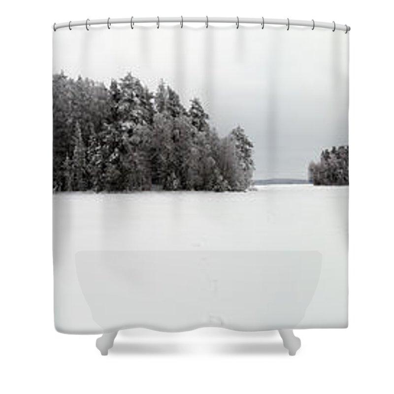 Lehtokukka Shower Curtain featuring the photograph Pyhajarvi Panorama 2 by Jouko Lehto